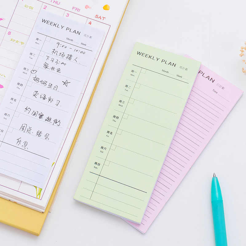 1 pcs יום תכנית שבוע תכנית חודש תכנית מפורט רשימת מחברת פנקס מחברת תזכירים יומיים יומן מתכנן משרד מכתבים