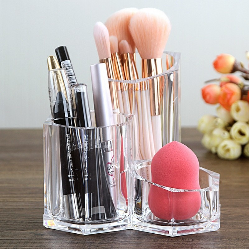 New Transparent Makeup Organizer Clear Acrylic Cylindrical Brush Make Up Cosmetic Holder Display Storage Box Case Free Shipping