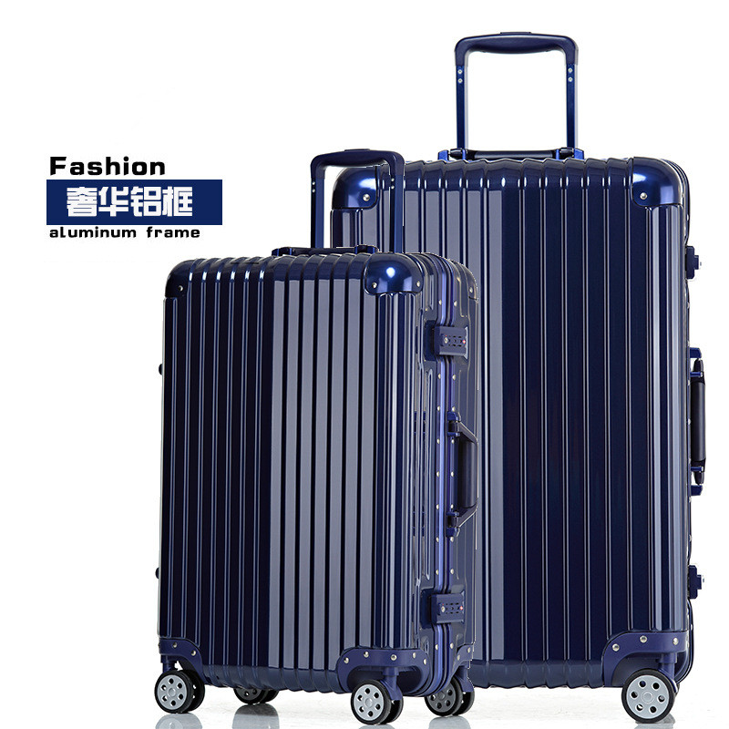 20/24/26/29 inches blue aluminum frame stick box fashion new trunk universal wheel luggage suitcase card 802