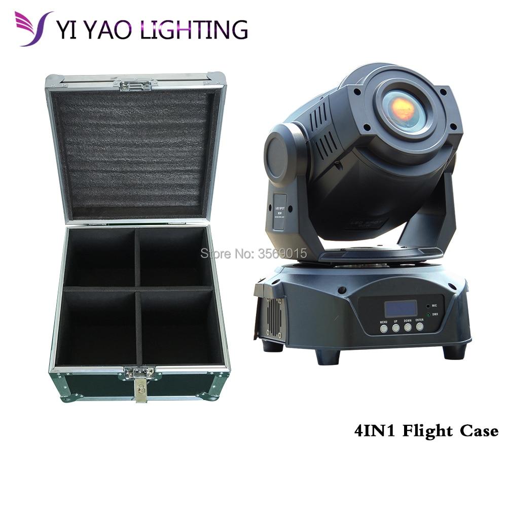 Flight Case 90w 3-facet Prism LED Spot Moving Head Stage Light Disco Wedding Party DJ 4pcs/lot
