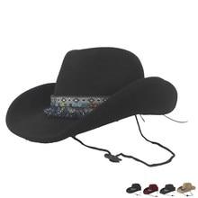 Женская шерстяная открытая западная ковбойская шляпа с широкими полями с кисточками Outblack Fedora Sombrero Hombre джаз шляпа