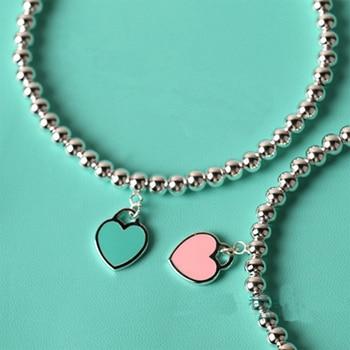 Fashion Heart Shaped Pendant Bracelet Ti Jewelry Bead Chain S925 Pendant Charm Brand Design For Women Logo Fashion Jewelry