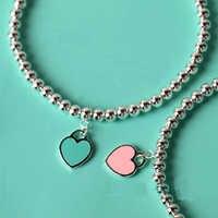 Pulsera colgante en forma de corazón de moda Cadena de cuentas de joyería Ti S925 colgante de diseño de marca para mujeres Logo joyería de moda
