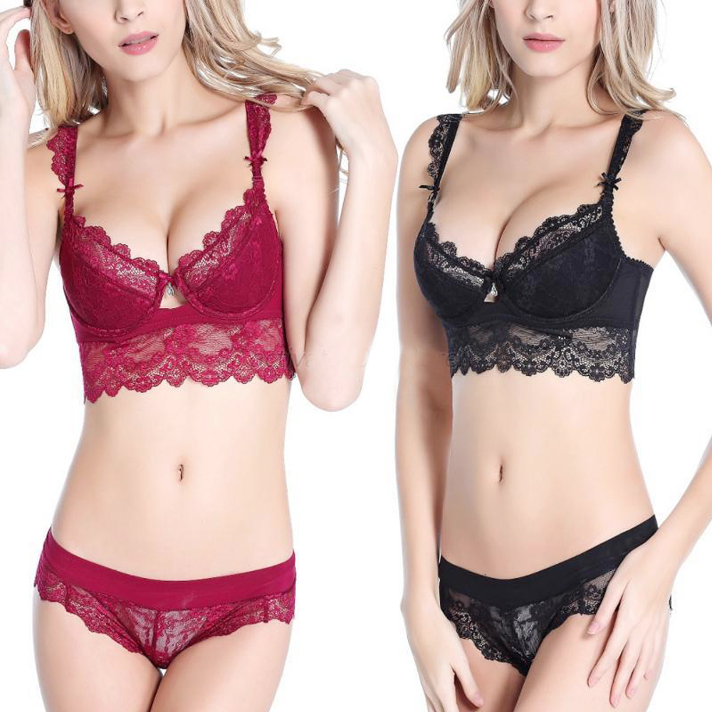 Bra & Brief Sets Back To Search Resultsunderwear & Sleepwears Smart Vogue Secret Bra Brief Sets Sexy Bras Sets Sexy Lace Embroidery Underwear Women Lace Brassiere Lingerie Panties Print Big Size