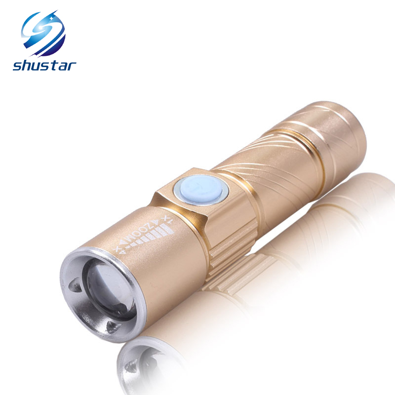 Rechargeable Powerful LED Flashlight Torch usb Flash Light Bike USB Handy Pocket LED Zoomable Lamp For Hunting BlackGold shustar 2000lumens q5 led flashlight torch zoomable rechargeable led flash light with usb input output for fishing charger holder