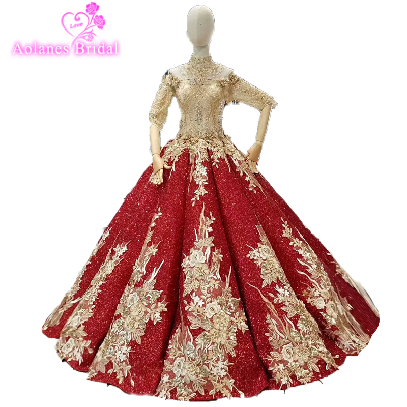 Luxury Bling Red Prom Dress Fully Beaded Puffy Prom Dresses 2018 Formal Party Dresses 2018 New Styles Waves Custom Party Dresses