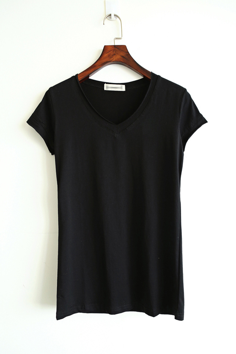 Cpi Women T Shirts 2018 Summer Tee Shirt Women Solid Color Casual Black White Short -9282