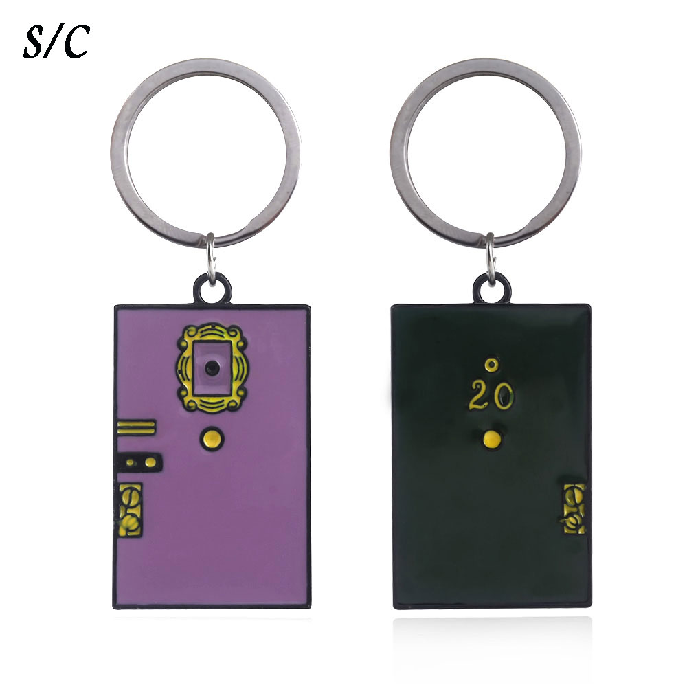 2 Colors TV Show Friends Monica's Door Keychain Central Perk Coffee Time Key Chain for Women Men Fans Car Keyring Jewelry image