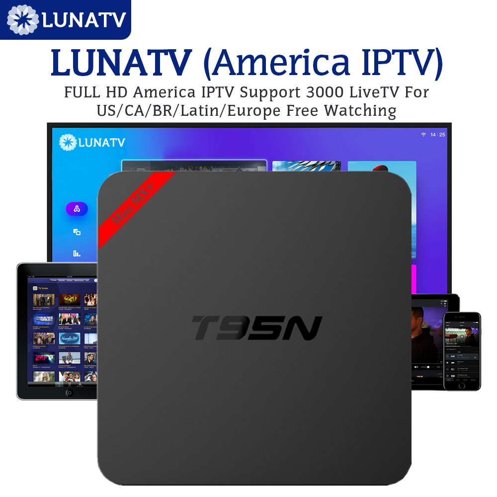 Android T95N 6.0 TV Box with 1 Year LUNATV US Canada brazil Latin IPTV 3500 Live Channels