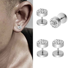 Crystal Steel Stud Earrings (1 pair)