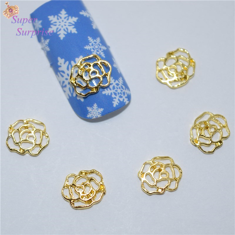 50 stk nye Golden Rose spiker klistremerker, 3D Metal Alloy Nail Art - Manikyr