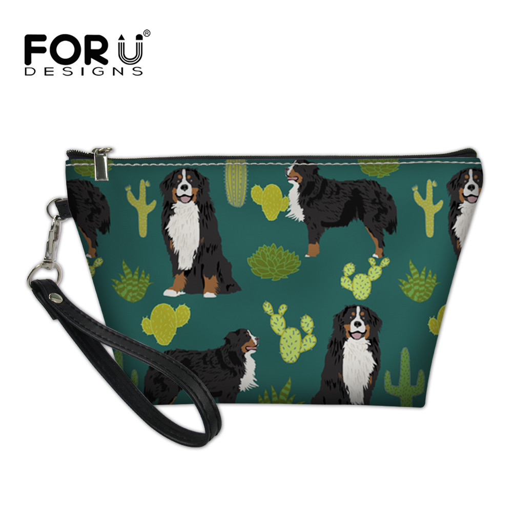FORUDESIGNS Womens Toilet Bag Cosmetic Case Bernese Dog Cactus Green Print Necessary Beauty Brush Organizer Makeup Bags 2018 New