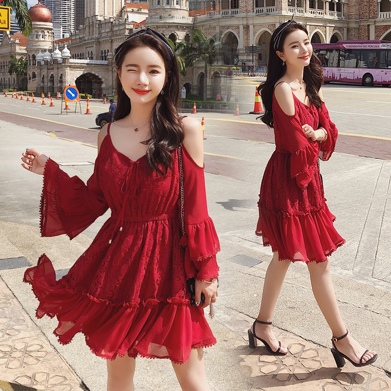 2019 Spring Women Flare Sleeve Red Lace Sexy Shoulder Design High Quality A line Dress Female Party Dresses 6