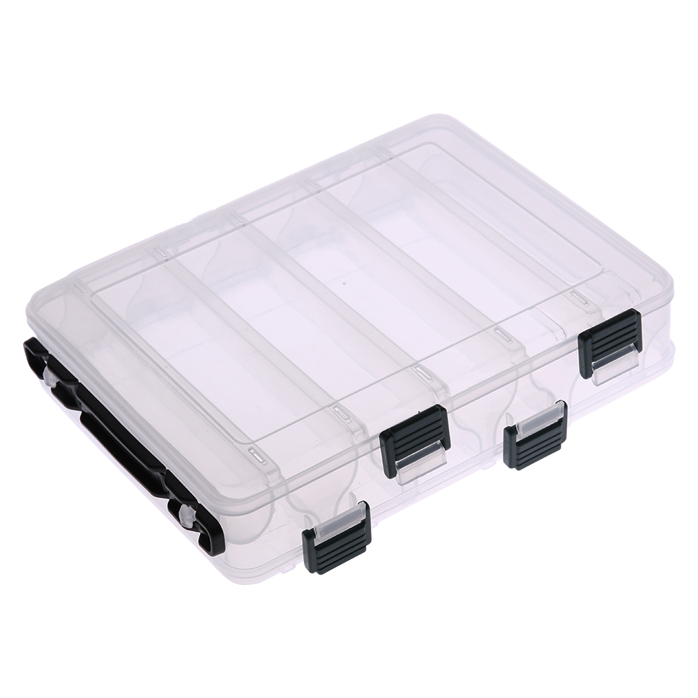 Double sided ten compartment transparent box wooden shrimp for Fishing bait box