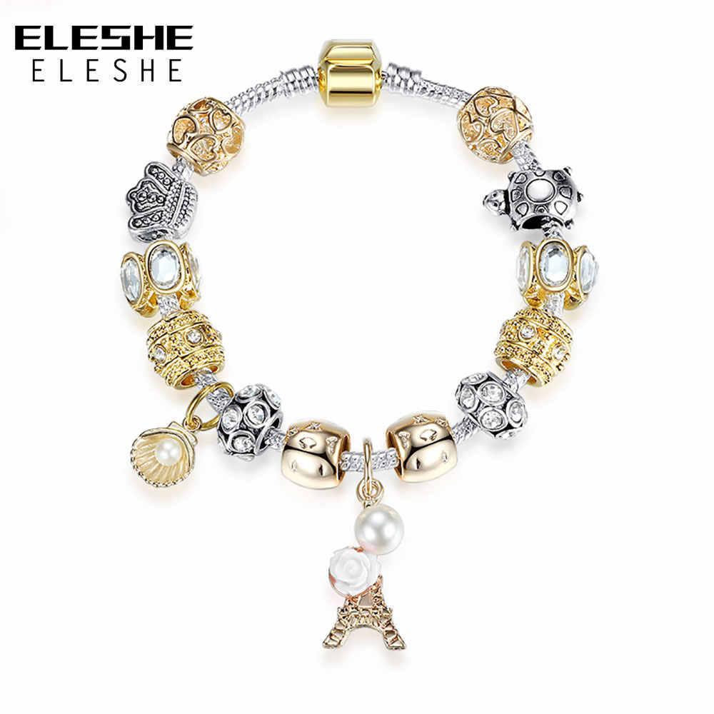 ELESHE europejski złoty-kolor dzwon koraliki bransoletki kryształ wieża eiffla Charm bransoletka dla kobiety boże narodzenie bransoletki bransoletki prezent