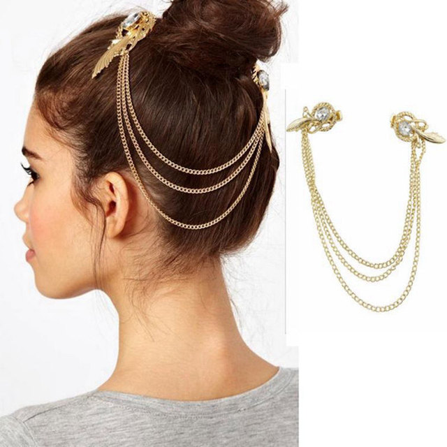 Hair Clip Pins Women Gold Color Tel Headbands Head Band Jewelry Headpiece Tone Crystal Feather Cuff