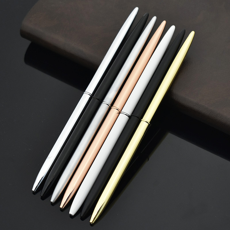Creative Slim Metal Ballpoint Pen Vintage Gold Silver Ball Pen For Business Writing Gifts Office School Supplies Stationery image