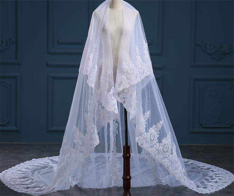 2016-High-Quality-Lace-Bridal-Veils-Two-Layer-3-5-Meter-Length-3-M-Width-Wedding_