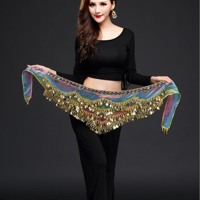 New Style Belly Dance Belt Newest Multi-color Glass Silk Belly Dancing Belt Scarf Crystal  Bellydance Waist Chain Hip Scarf