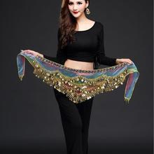 Novo estilo de dança do ventre cinto mais novo multi-cor de vidro de seda cachecol cinto de dança do ventre de cristal dança do ventre cadeia de cintura quadril cachecol