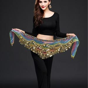 Image 1 - New style belly dance belt newest multi color glass silk belly dancing belt scarf crystal  bellydance waist chain hip scarf