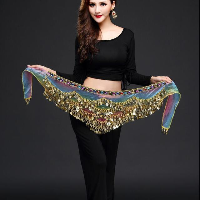 New style belly dance belt newest multi color glass silk belly dancing belt scarf crystal  bellydance waist chain hip scarf