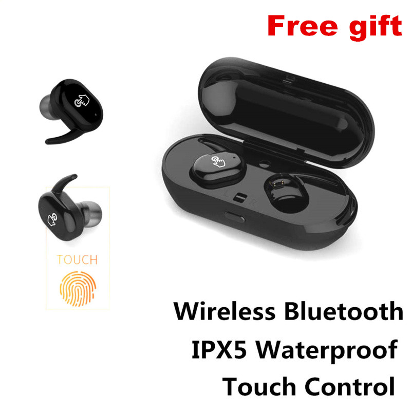E-XY Capsule Headphones Wireless Bluetooth Headset In-Ear IPX5 Waterproof Earphone With Mic for Samsung/iphone8 /Android Phones