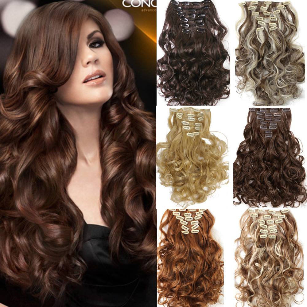 1set Clip On Hair Extension 50cm 20inch 7pcs Set Natural Hairpieces Hair Style Wavy Curly