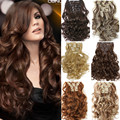 1Set Clip On Hair Extension 50cm 20inch 7pcs/set Natural Hairpieces Hair Style Wavy Curly Synthetic Clip In Hair Extensions 999