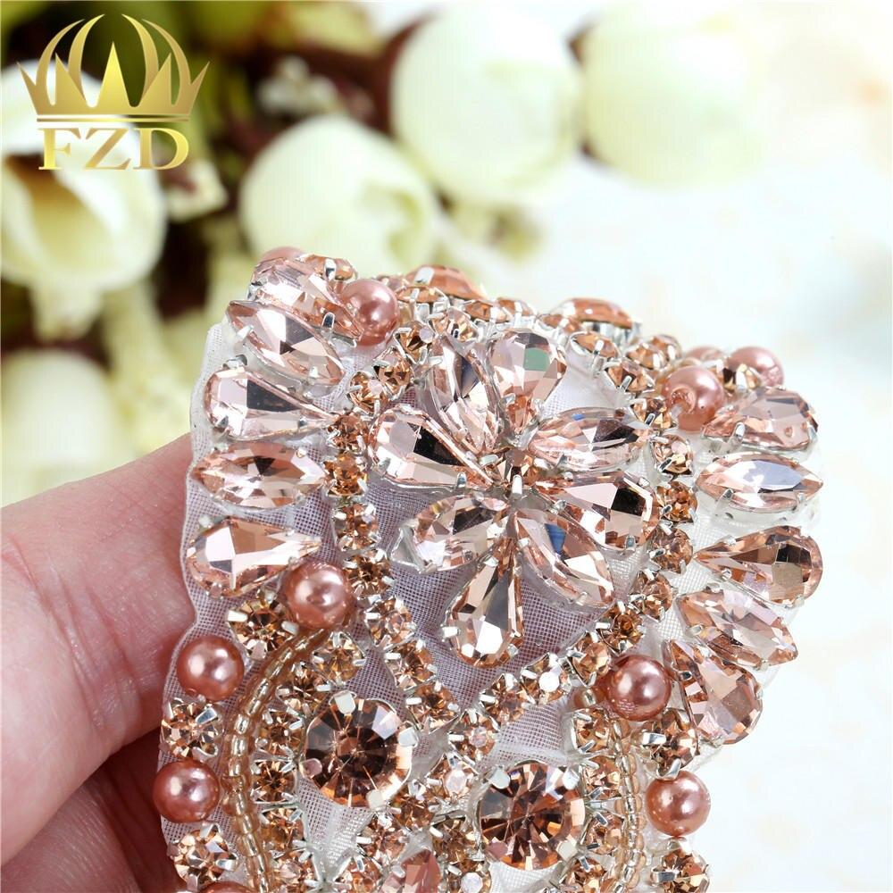 Wedding Sew on peach Beaded Crystal Applique Rhinestones Decorative Trim  for Bridal Dress Sash or Headbands Wedding Dress-in Rhinestones from Home    Garden ... 13f57ba469a7