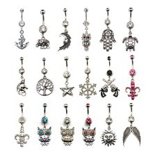 1Piece Steel Belly Button Ring Crystal Gem Gold Flower Elephant Logos Navel Piercing Rings For Sexy Women Fashion Jewelry 14g