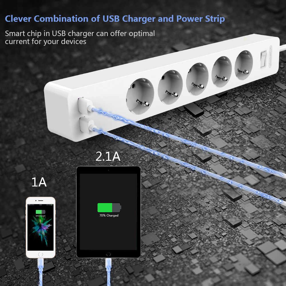 NTONPOWER Treo Tường Nguồn USB Dải Chống Sét Bảo Vệ với 3/5 Cổng 2 USB Nối Dài Phích Cắm EU cho Nhà Mạng bộ lọc