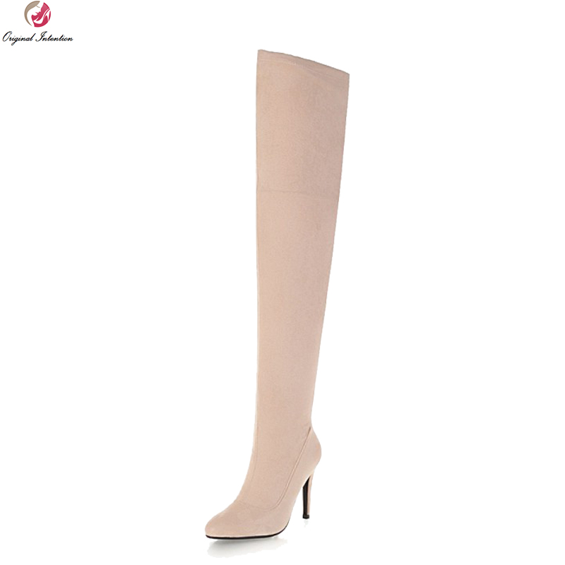 Original Intention Sexy Women Thigh High Boots Pointed Toe High Heels Boots Black Pink Grey Nude Shoes Woman Plus US Size 3-16 original intention high quality women knee high boots nice pointed toe thin heels boots popular black shoes woman us size 4 10 5