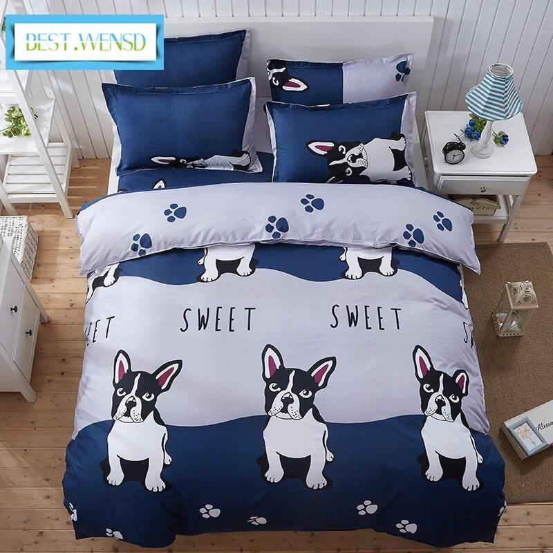 MELHOR. WENSD letto matrimoniale 4 bulldog lençóis pc completo jogo de cama de algodão conjuntos capa de edredão-home textiles svetanya cantar