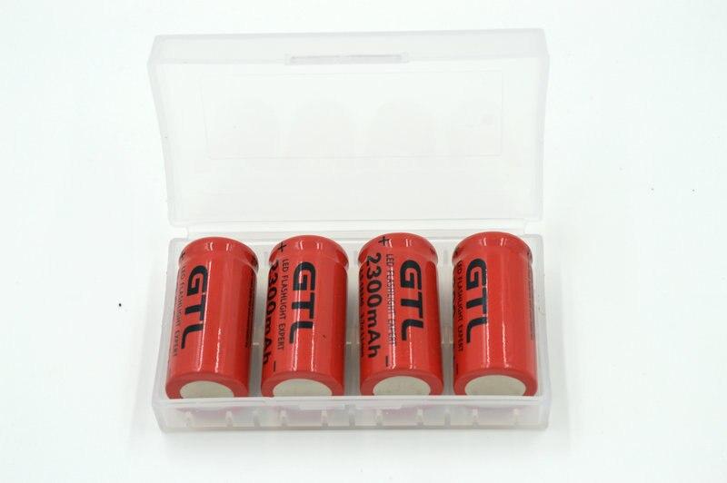 4 pçs/lote 3.7 v 2300 mAh 16340 Li-ion Recarregável CR123A Bateria Vermelho Para O Lanterna LED + Caixas De Armazenamento Da Bateria Livre grátis