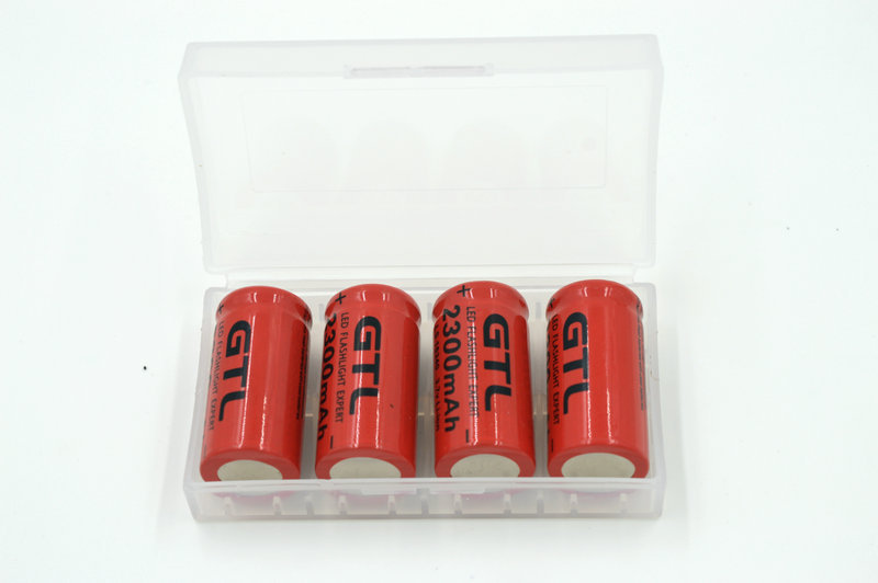 4pcs/lot 3.7v 2300mAh <font><b>16340</b></font> CR123A Rechargeable <font><b>Li</b></font>-<font><b>ion</b></font> <font><b>Battery</b></font> Red For LED Flashlight +<font><b>Battery</b></font> Storage Boxes Free shipping image