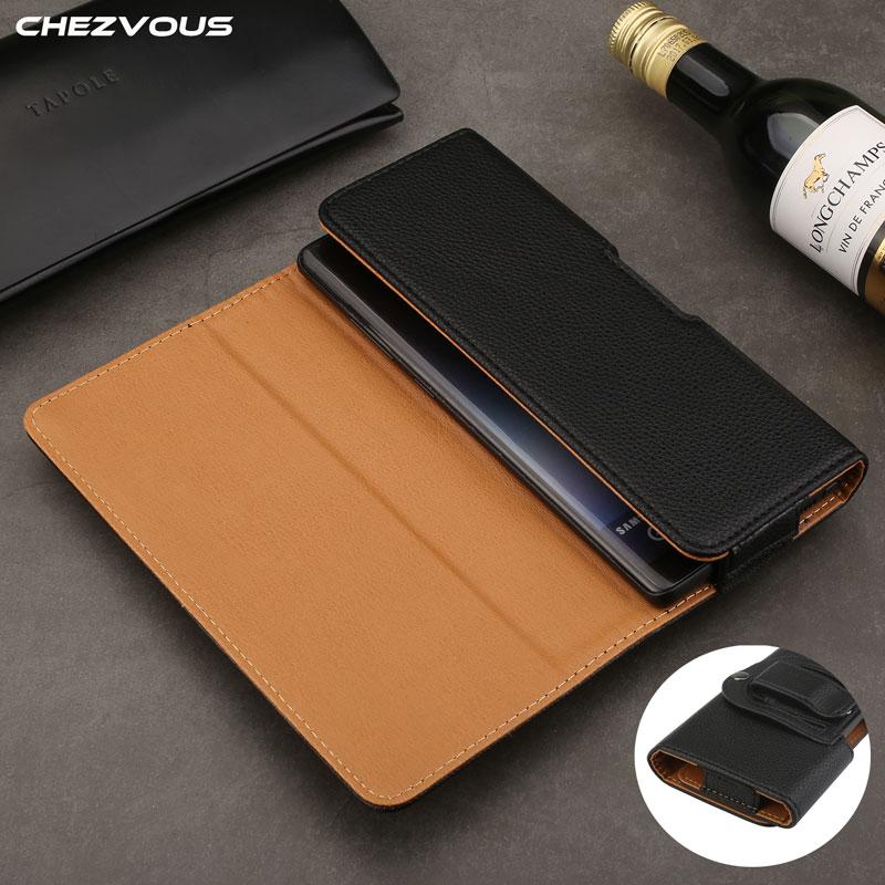CHEZVOUS Belt Phone Case Litchi Grain PU Leather Horizontal Phones Loop Belt Holster Fashion Mens Waist Bag for iPhone Samsung
