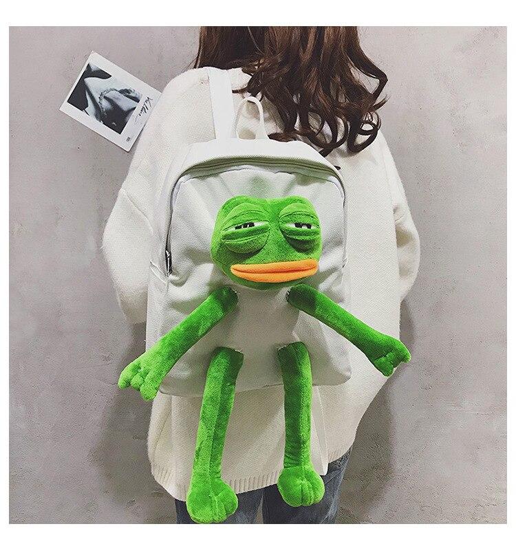 Frog mochila de lona das meninas, estéreo,
