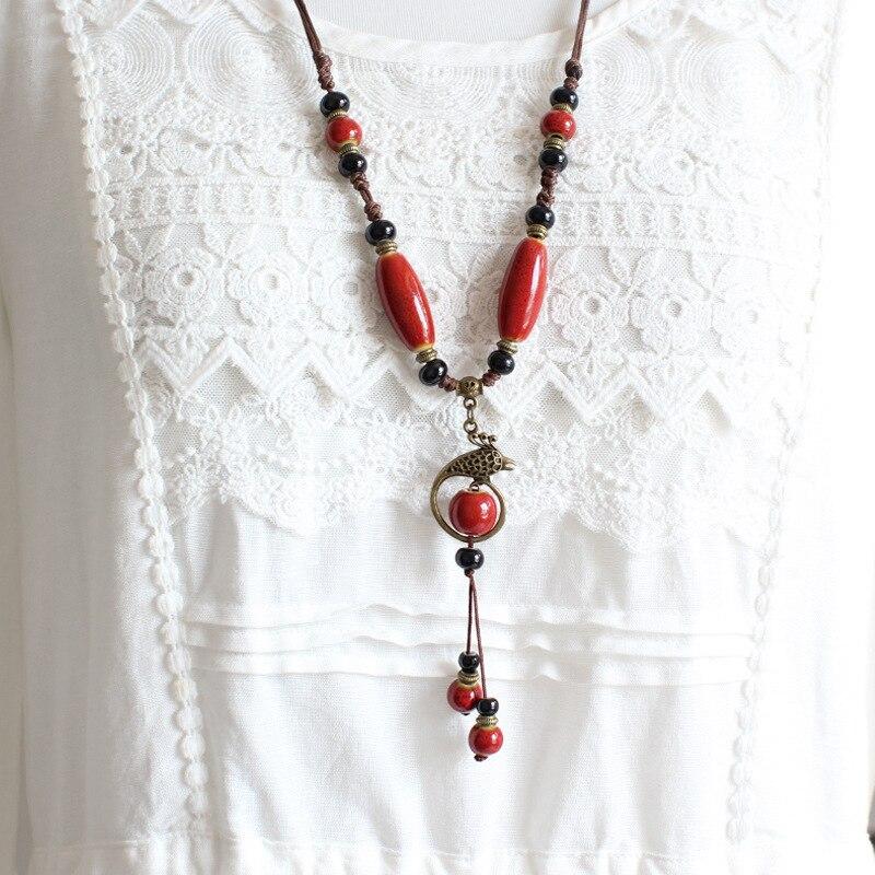 St. kunkka קרמיקה חרוזים הצהרת שרשראות לאישה ארוך עץ סוודר שרשרת שרשראות תליוני פשוט לולאות צווארון בוהמיה