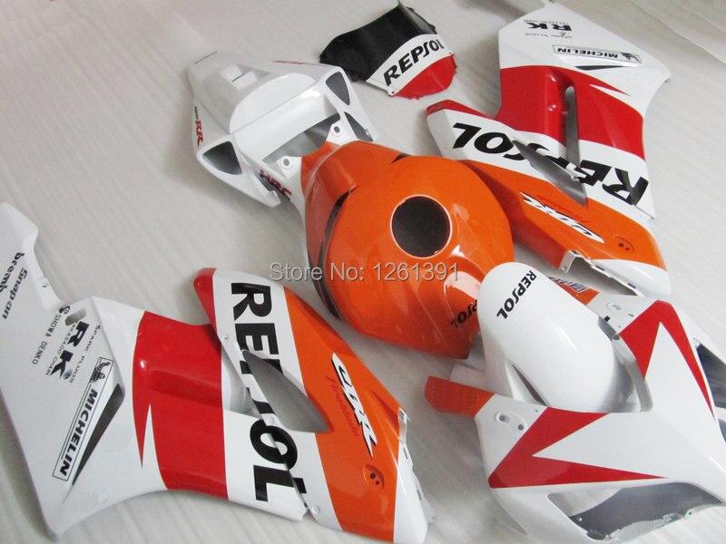 Подходит инъекции комплект обтекателей для HONDA CBR1000 RR 04 05 CBR1000 04 05 CBR 1000RR 2004 2005 REPSOL orange красные, белые Обтекатели