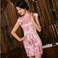 National Wind Chinese Women's Satin Cheongsam Silk Qipao Cotton Short Chinese Oriental Dresses Traditional Floral Cheongsams