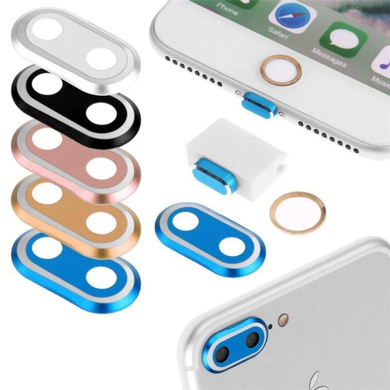 ec5fbc35f3c Para IPhone 7 7 PLUS lente de la Cámara Protector de anillo y Touch ID Home  Button sticker & Lightning puerto de carga tapón Anti polvo en Parachoques  del ...