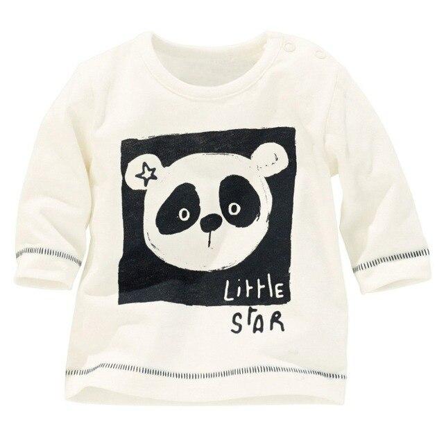 Хлопка с длинным рукавом детей рубашки, Милый мультфильм футболки, Мальчики панда печатным рисунком - одежда