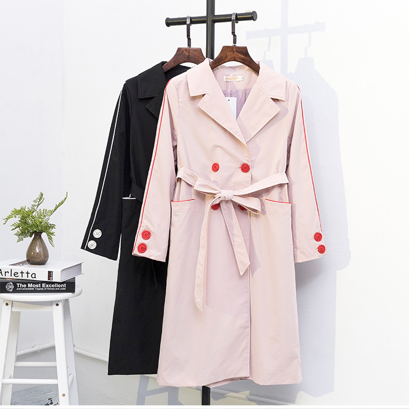 New   Trench   Coat Women Plus Size 5XL Long Spring Coat Black Belt Double-Breasted Pocket Casaco Mujer Windbreaker Female Q305