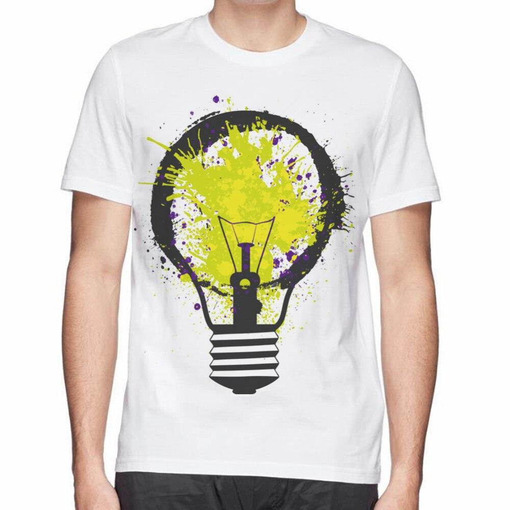 Design t shirt china - Summer Creative Design Splash Electricity Bulb Print Men Cotton T Shirt Good Quality Clothing Tops T