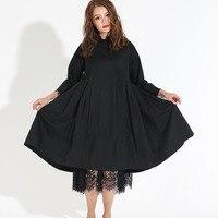 [Eam] 2018春ファッショントレンド新しい韓国分布レース裾固体綿ロングスリーブドレス女性Y13100