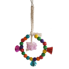 1pcs Parrot toys supplies swing toy Molar string Wooden pets Birds Stand Hanging Swing Rings With Colorful Balls