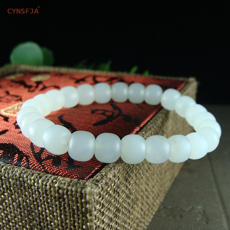 CYNSFJA Real Rare Certified Natural Hetian Mutton-fat White Jade Bracelets Amulets Charm High Quality Fine Jewelry Best Gifts image