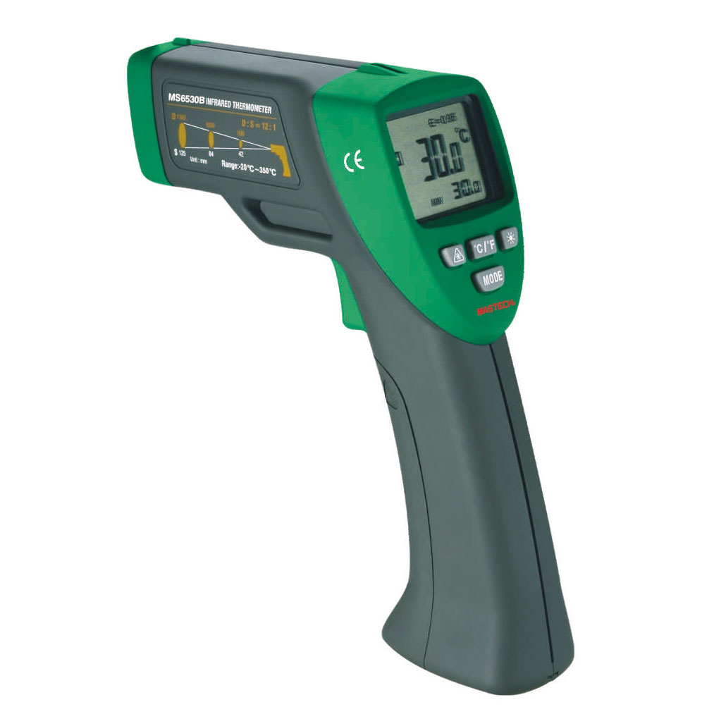 MASTECH MS6530B Digital Non-contact Infrared Thermometer IR Temperature Meter 12:1(D:S) with Laser Sighting and Backlit t010 new digital temperature meter tester mastech ms6520a laser pointer non contact infrared ir thermometer free shipping