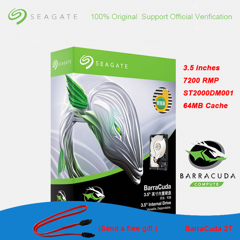 Original Seagate BarraCuda <font><b>2TB</b></font> 3.5 Inch Internal <font><b>HDD</b></font> for Desktop PC Games Music 7200 RPM SATA3.0 64MB Cache Hard Drive Disk image